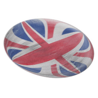 10 inch Plate - Union Jack distressed flag