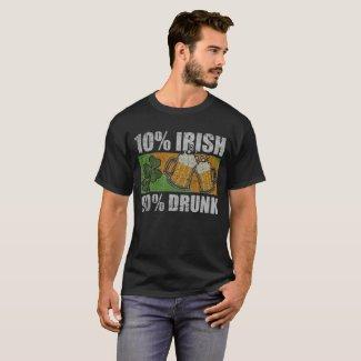 10% Irish 90% Drunk Happy St. Patrick's Day Distre T-Shirt