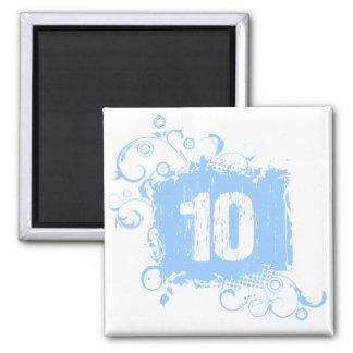 #10 Light Blue Grunge 2 Inch Square Magnet