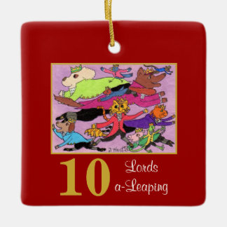 10 Lords a Leaping Cute Animals & Typography Ceramic Ornament