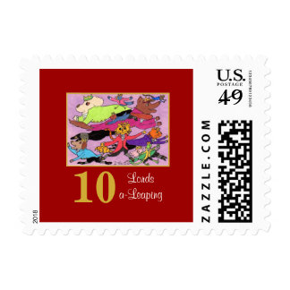 10 Lords a Leaping Cute Animals & Typography Postage