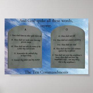 10 mandamientos en poster de las nubes
