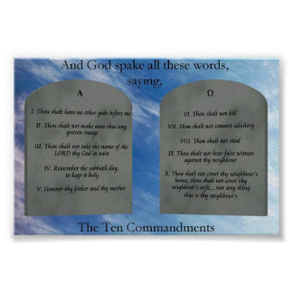 10 mandamientos en poster de las nubes póster