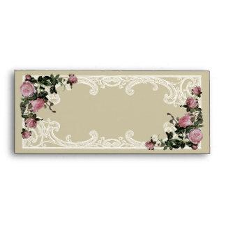 10 Matching Wedding Envelopes Trellis Rose Vintage