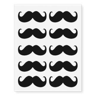 10 Mustache Set Prints Temporary Tattoos