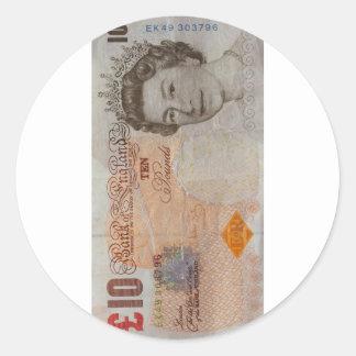 £10 note classic round sticker