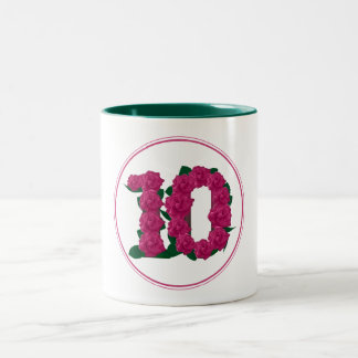10 Number 10th Birthday Anniversary cute pink mug