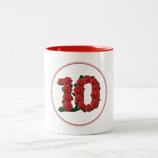 10 Number 10th Birthday Anniversary red mug
