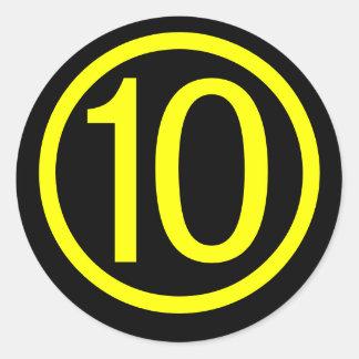10 - number ten classic round sticker
