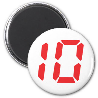 10 número digital del despertador de diez rojos imán redondo 5 cm