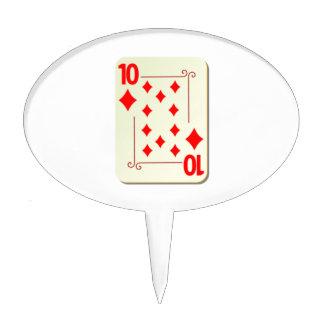 10 of Diamonds Playing Card Cake Picks