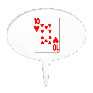 10 of Hearts Playing Card Cake Toppers