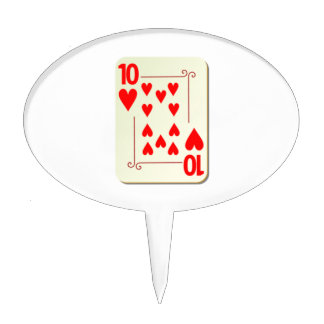 10 of Hearts Playing Card Cake Topper