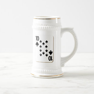 10 of Spades Playing Card Beer Stein