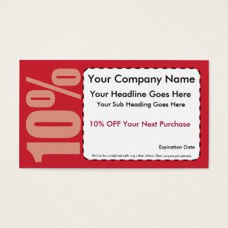10% Off Coupon Business Card