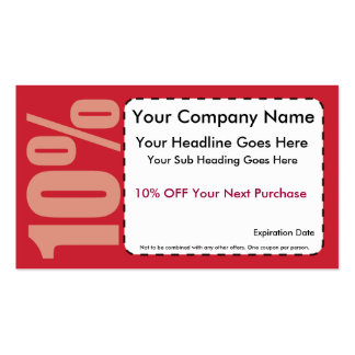 10% Off Coupon Double-Sided Standard Business Cards (Pack Of 100)