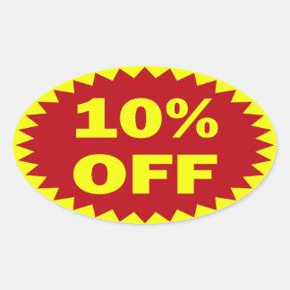 10% OFF OVAL STICKER