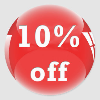 10% Off (Percent) Round Glossy Sticker