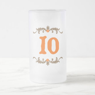 #10 Orange & Brown Scroll Frosted Glass Beer Mug