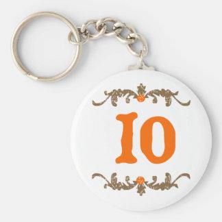 #10 Orange & Brown Scroll Key Chain