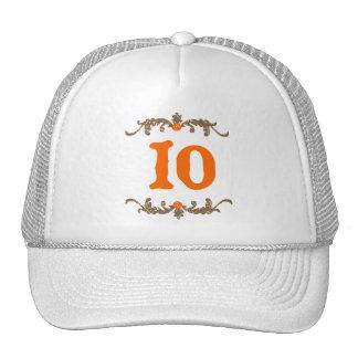#10 Orange & Brown Scroll Trucker Hat