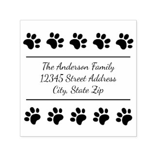 10 Paw Prints - Square Self Inking Stamp