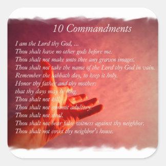 10 pegatinas de los mandamientos pegatina cuadrada