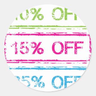 10 Percent Off 15 Percent Off 25 Percent Off Stamp Classic Round Sticker