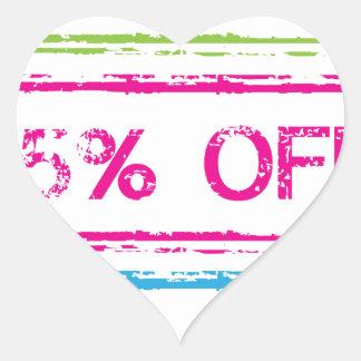 10 Percent Off 15 Percent Off 25 Percent Off Stamp Heart Sticker
