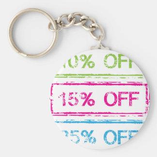 10 Percent Off 15 Percent Off 25 Percent Off Stamp Keychain