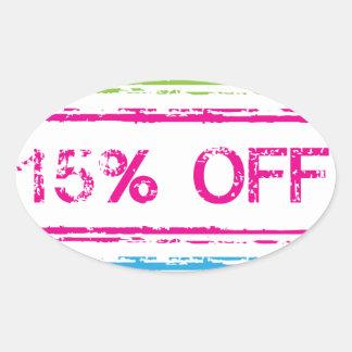 10 Percent Off 15 Percent Off 25 Percent Off Stamp Oval Sticker