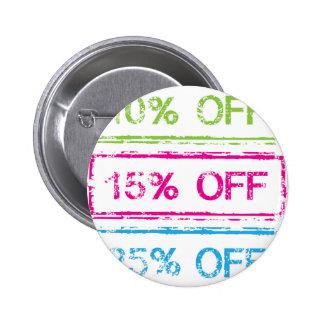 10 Percent Off 15 Percent Off 25 Percent Off Stamp Pinback Button