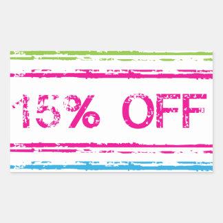 10 Percent Off 15 Percent Off 25 Percent Off Stamp Rectangular Sticker