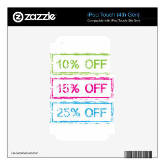 10 Percent Off 15 Percent Off 25 Percent Off Stamp Skins For iPod Touch 4G