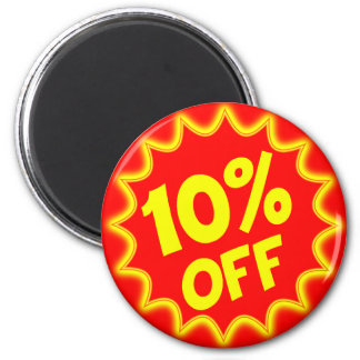 10 PERCENT OFF RETAIL LABEL 2 INCH ROUND MAGNET