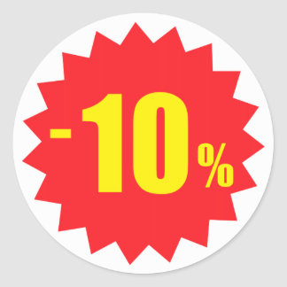 10 percent sale discount stickers, white and red classic round sticker