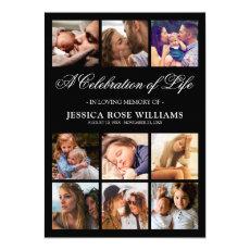 10 Photo Celebration of Life Funeral Invitation