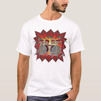 10 Piece Drum Kit & Graphics: T-Shirt: White T-Shirt