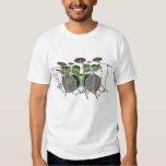 10 Piece Drum Kit: Green Gradient: White T-Shirt