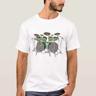 10 Piece Drum Kit: Green Gradient: White T-Shirt