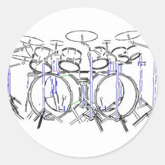 10 Piece Drum Kit: Marker Drawing: Classic Round Sticker