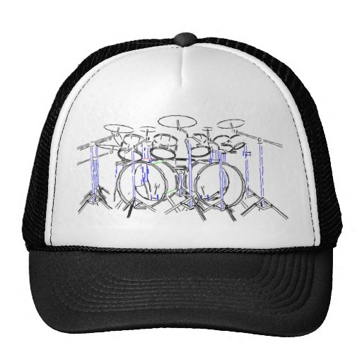 10 Piece Drum Kit: Marker Drawing: Hats
