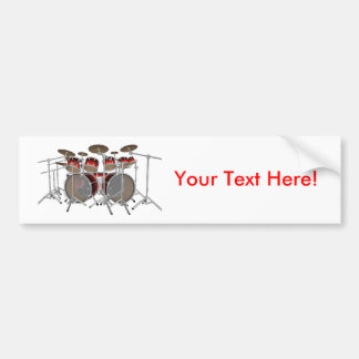 10 Piece Drum Kit: Red: Bumper Sticker