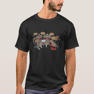 10 Piece Drum Kit: Red Gradient: Black T-Shirt