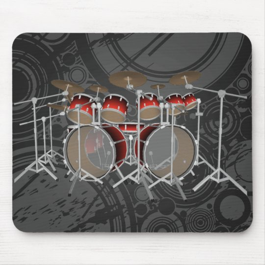 10 Piece Drum Kit: Red Gradient: Drums Mousepad