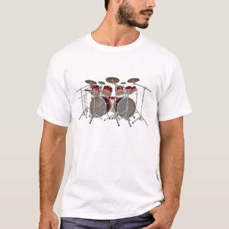 10 Piece Drum Kit: Red Gradient: White T-Shirt