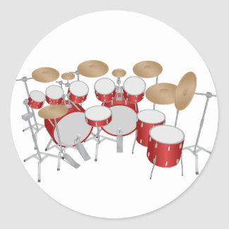 10 Piece Drum Kit: Vector Drawing: Classic Round Sticker