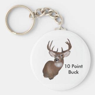 10 Point Buck Basic Round Button Keychain