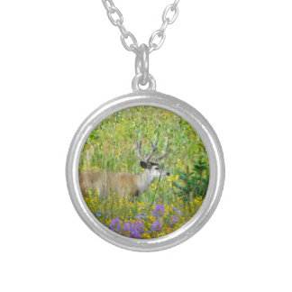 10 Point velvet buck in a field of wildflowers Round Pendant Necklace