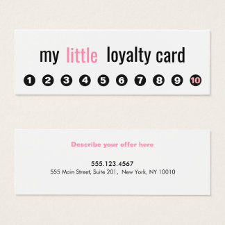 10 Punch Pink Beauty Salon Customer Loyalty Card